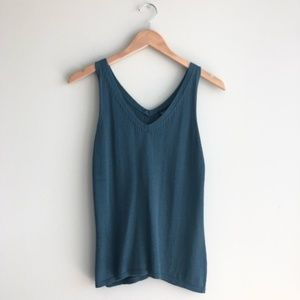Eileen Fisher Teal Nylon Knit Sweater Tank Top M